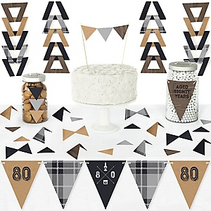80th Milestone Birthday - Dashingly Aged to Perfection - DIY Pennant Banner Decorations - Birthday Party Triangle Kit - 99 Pieces