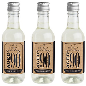 90th Milestone Birthday - Dashingly Aged to Perfection - Mini Wine and Champagne Bottle Label Stickers - Birthday Party Favor Gift - For Women and Men - Set of 16
