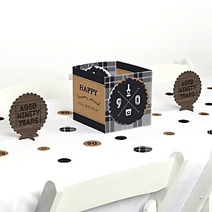 90th Milestone Birthday - Dashingly Aged to Perfection - Birthday Party Centerpiece and Table Decoration Kit