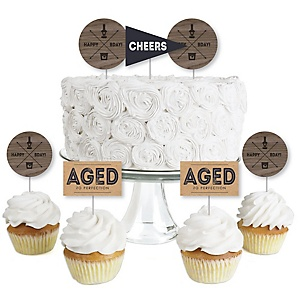 Milestone Happy Birthday - Dashingly Aged to Perfection - Dessert Cupcake Toppers - Birthday Party Clear Treat Picks - Set of 24