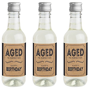 Milestone Happy Birthday - Dashingly Aged to Perfection - Mini Wine and Champagne Bottle Label Stickers - Birthday Party Favor Gift - For Women and Men - Set of 16