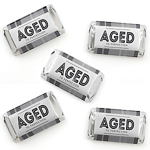 Milestone Happy Birthday - Dashingly Aged to Perfection - Mini Candy Bar Wrapper Stickers - Birthday Party Small Favors - 40 Count