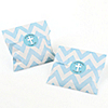 Little Miracle Boy Blue & Gray Cross - Chevron Favor Bags with Personalized Party Sticker Labels - Set of 24
