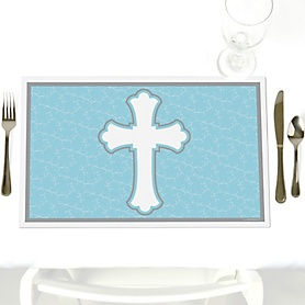 Little Miracle Boy Blue - Gray Cross - Party Table Decorations - Baby Shower Placemats - Set of 12