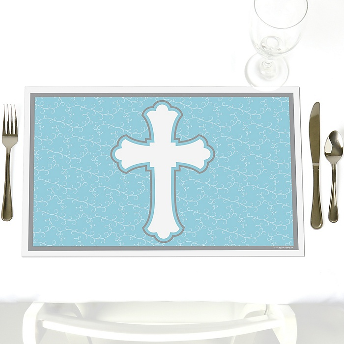 Little Miracle Boy Blue - Gray Cross - Party Table Decorations - Baptism Placemats - Set of 12