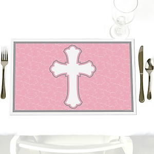 Little Miracle Girl Pink - Gray Cross - Party Table Decorations - Baptism Placemats - Set of 12