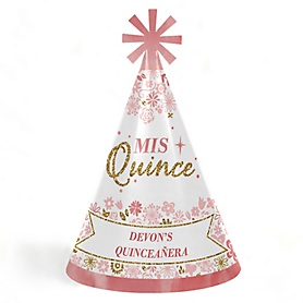Mis Quince Anos - Personalized Cone Happy Birthday Party Hats for Kids and Adults - Set of 8 (Standard Size)
