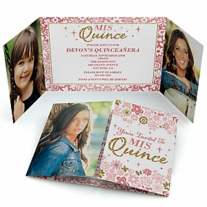Mis Quince Anos - Personalized Quinceanera Sweet 15 Birthday Party Photo Invitations - Set of 12
