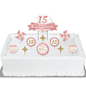 Mis Quince Anos - Quinceanera Sweet 15 Birthday Party Cake Decorating Kit - Feliz Quinceanera Cake Topper Set - 11 Pieces