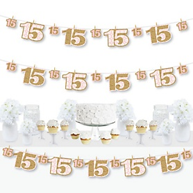 Mis Quince Anos - Quinceanera Sweet 15 Birthday Party DIY Decorations - Clothespin Garland Banner - 44 Pieces