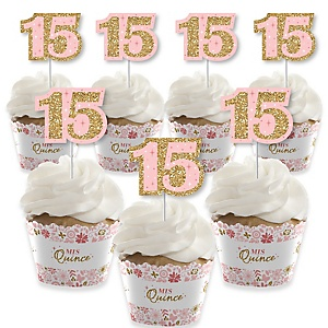 Mis Quince Anos - Cupcake Decoration - Quinceanera Sweet 15 Birthday Party Cupcake Wrappers and Treat Picks Kit - Set of 24