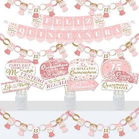 Mis Quince Anos - Banner and Photo Booth Decorations - Quinceanera Sweet 15 Birthday Party Supplies Kit - Doterrific Bundle