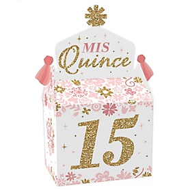 Mis Quince Anos - Treat Box Party Favors - Quinceanera Sweet 15 Birthday Party Goodie Gable Boxes - Set of 12