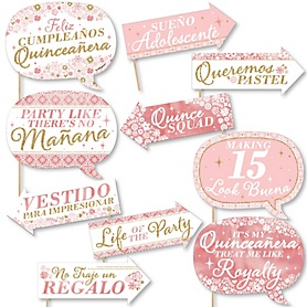 Funny Mis Quince Anos - 10 Piece Quinceanera Sweet 15 Birthday Party Photo Booth Props Kit
