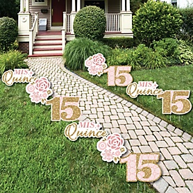 Mis Quince Anos - Lawn Decorations - Outdoor Quinceanera Sweet 15 Birthday Party Yard Decorations - 10 Piece