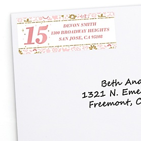 Mis Quince Anos - Personalized Quinceanera Sweet 15 Birthday Party Return Address Labels - 30 ct