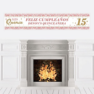 Mis Quince Anos - Personalized Quinceanera Sweet 15 Birthday Party Banner