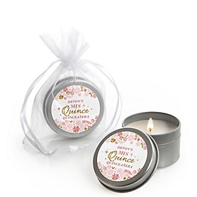 Mis Quince Anos - Quinceanera Sweet 15 Birthday Party Personalized Party Candle Tin Favors - Set of 12