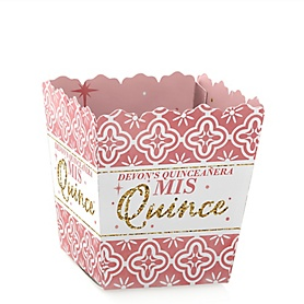 Mis Quince Anos - Party Mini Favor Boxes - Personalized Quinceanera Sweet 15 Birthday Party Treat Candy Boxes - Set of 12