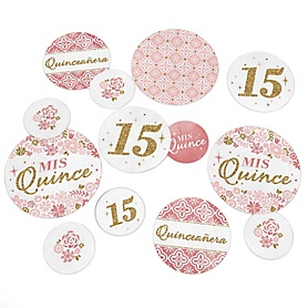 Mis Quince Anos - Quinceanera Sweet 15 Birthday Party Giant Circle Confetti - Party Decorations - Large Confetti 27 Count