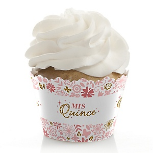 Mis Quince Anos - Quinceanera Sweet 15 Birthday Party Decorations - Party Cupcake Wrappers - Set of 12