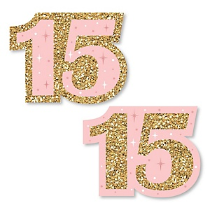 Mis Quince Anos - DIY Shaped Quinceanera Sweet 15 Birthday Party Cut-Outs - 24 ct