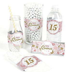 Mis Quince Anos - DIY Party Supplies - Quinceanera Sweet 15 Birthday Party DIY Wrapper Favors and Decorations - Set of 15