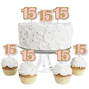 Mis Quince Anos - Dessert Cupcake Toppers - Quinceanera Sweet 15 Birthday Party Clear Treat Picks - Set of 24