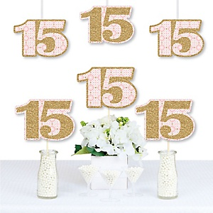 Mis Quince Anos - Decorations DIY Quinceanera Sweet 15 Birthday Party Essentials - Set of 20