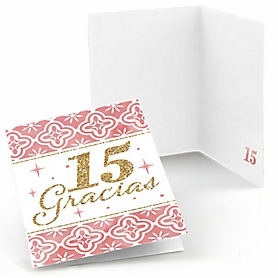 Mis Quince Anos - Quinceanera Sweet 15 Birthday Party Thank You Cards  - 8 ct