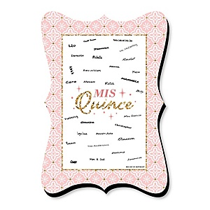 Mis Quince Anos - Unique Alternative Guest Book - Quinceanera Sweet 15 Birthday Party Signature Mat