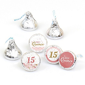 Mis Quince Anos - Quinceanera Sweet 15 Birthday Party Round Candy Sticker Favors - Labels Fit Hershey's Kisses - 108 ct