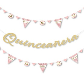 Mis Quince Anos - Quinceanera Sweet 15 Birthday Party Letter Banner Decoration - 36 Banner Cutouts and Happy Birthday Banner Letters