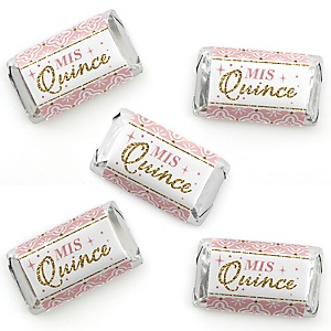 Mis Quince Anos - Mini Candy Bar Wrappers Stickers - Quinceanera Sweet 15 Birthday Party Small Favors - 40 Count