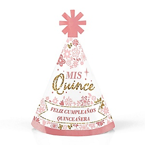 Mis Quince Anos - Personalized Mini Cone Quinceanera Sweet 15 Birthday Party Hats - Small Little Party Hats - Set of 10