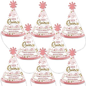 Mis Quince Anos - Mini Cone Quinceanera Sweet 15 Birthday Party Hats - Small Little Party Hats - Set of 8
