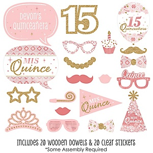 Mis Quince Anos - 20 Piece Quinceanera Sweet 15 Birthday Party Photo Booth Props Kit