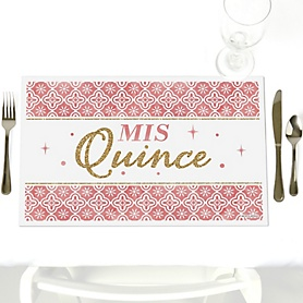 Mis Quince Anos - Quinceanera Sweet 15 Birthday Party Table Decorations - Party Placemats - Set of 12