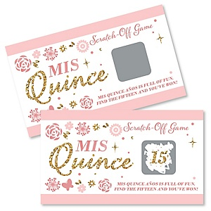 Mis Quince Anos - Quinceanera Sweet 15 Birthday Party Game Scratch Off Cards - 22 ct