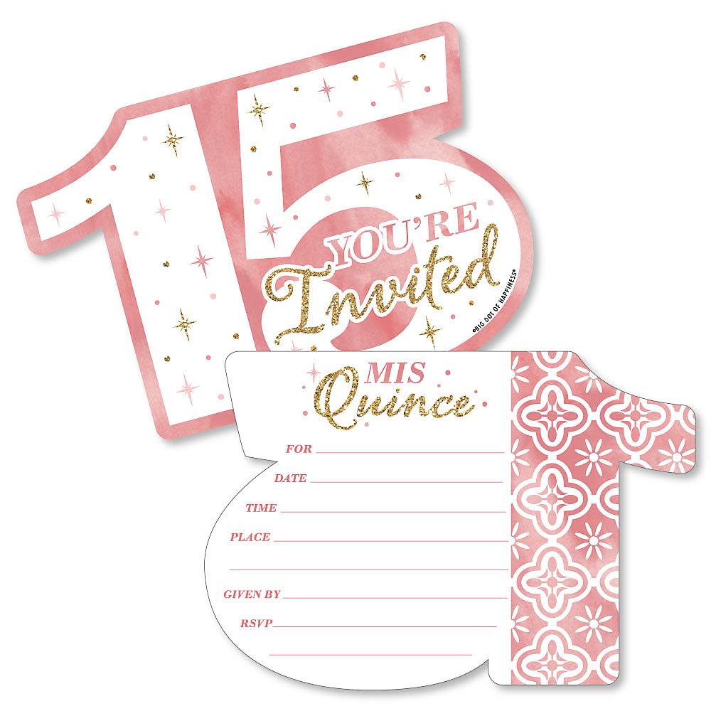Mis Quince Anos Shaped Fill In Invitations Quinceanera Sweet 15 Birthday Party Invitation Cards With Envelopes Set Of 12