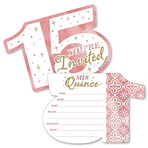 Mis Quince Anos - Shaped Fill-In Invitations - Quinceanera Sweet 15 Birthday Party Invitation Cards with Envelopes - Set of 12