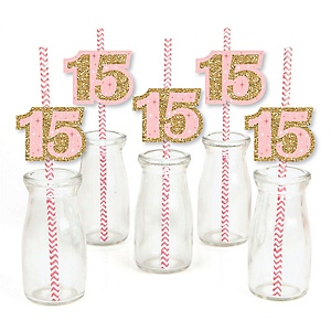 Mis Quince Anos - Paper Straw Decor - Quinceanera Sweet 15 Birthday Party Striped Decorative Straws - Set of 24
