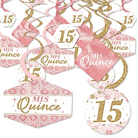 Mis Quince Anos - Quinceanera Sweet 15 Birthday Party Hanging Decor - Party Decoration Swirls - Set of 40