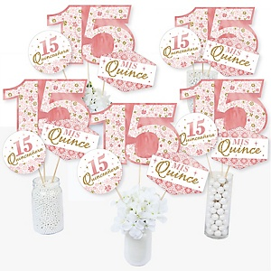 Mis Quince Anos - Quinceanera Sweet 15 Birthday Party Centerpiece Sticks - Table Toppers - Set of 15
