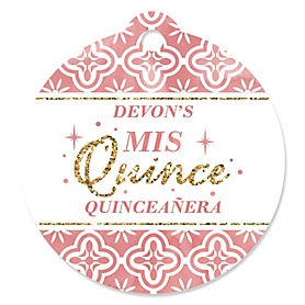 Mis Quince Anos - Round Personalized Quinceanera Sweet 15 Birthday Party Tags - 20 ct