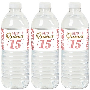 Mis Quince Anos - Quinceanera Sweet 15 Birthday Party Water Bottle Sticker Labels - Set of 20