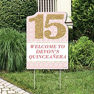 Mis Quince Anos - Party Decorations - Quinceanera Sweet 15 Birthday Party Personalized Welcome Yard Sign