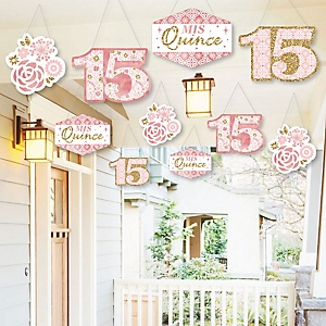 Hanging Mis Quince Anos - Outdoor Quinceanera Sweet 15 Birthday Party Hanging Porch and Tree Yard Decorations - 10 Pieces