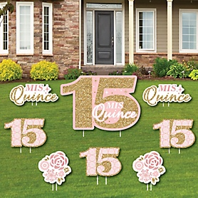 Mis Quince Anos - Yard Sign and Outdoor Lawn Decorations - Quinceanera Sweet 15 Birthday Party Yard Signs - Set of 8