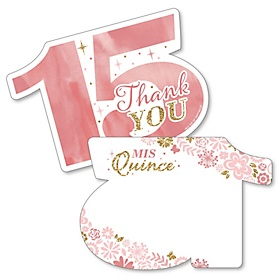Mis Quince Anos - Shaped Thank You Cards - Quinceanera Sweet 15 Birthday Party Thank You Note Cards with Envelopes - Set of 12